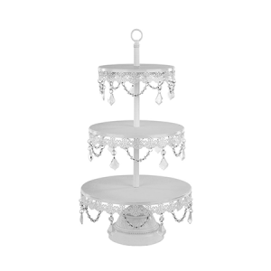 3-Tier Crystal Draped Dessert Cupcake Stand